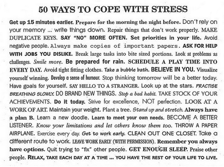 how to deal with stress Breathing exercise for stress 10 stress busters easy time-management tips coping with exam stress  this will help you deal with stress.
