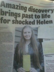 Helen's story in the local newspaper